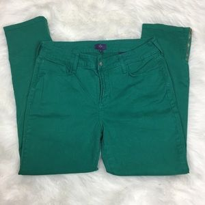 NYDJ Ankle Straight Jeans 10 Green Holiday Zipper